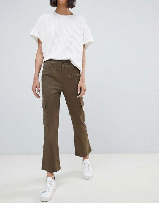 e99757236513 ASOS | ASOS DESIGN kick flare stretch pants with combat pockets in khaki