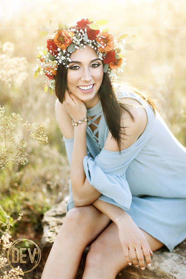 senior picture portrait idea natural backlit flower crown field