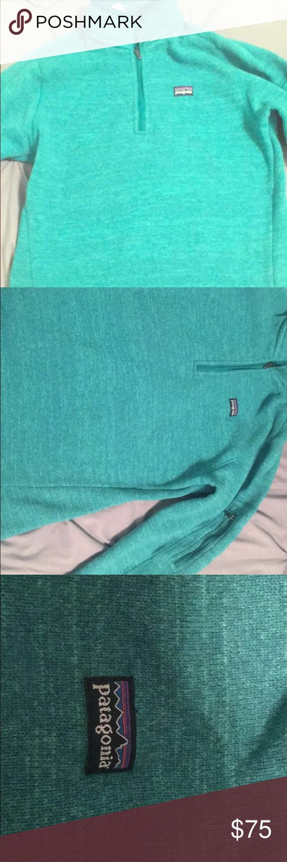 Patagonia better sweater Patagonia better sweater for sale...in good condition just don't wear it as much as I thought I would.. the color is a greenish blue Patagonia Tops Sweatshirts & Hoodies