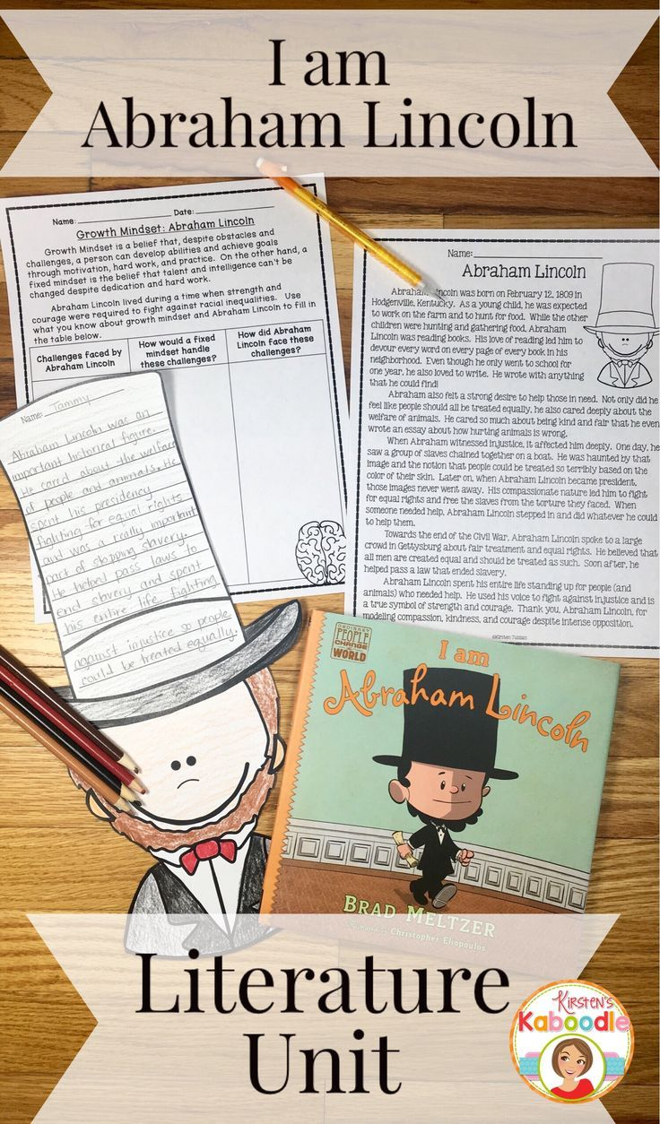 I am Abraham Lincoln is a fantastic new biography by Brad Meltzer.  This easy to use literature companion requires no preparation and contains engaging activities that will help your students understand the life and times of Abraham Lincoln.   It includes a growth mindset component as well as a variety of teaching standards for 2nd, 3rd, and 4th grade.