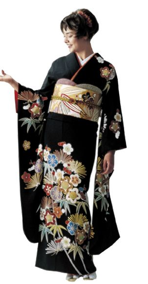 Tomesode: The most formal Kimono for married women. A Kuro-tomesode/Kurotomesode is a black kimono with designs at the bottom, and 5 crests on the Kimono. An Irotomesode is a colored kimono, but has the designs at the bottom, much like the kurotomesode.