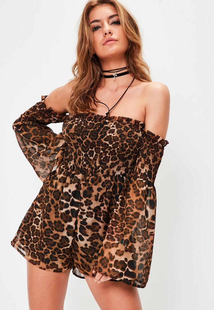 Missguided - Leopard Print Shearred Bardot Brown Playsuit
