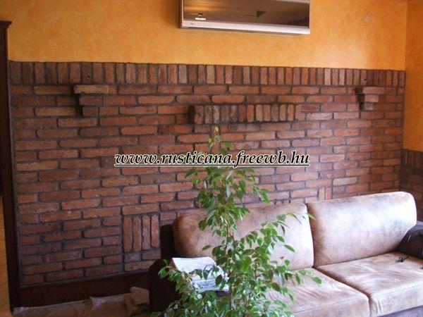 szeletelt tégla falburkolat - brick wall indoors