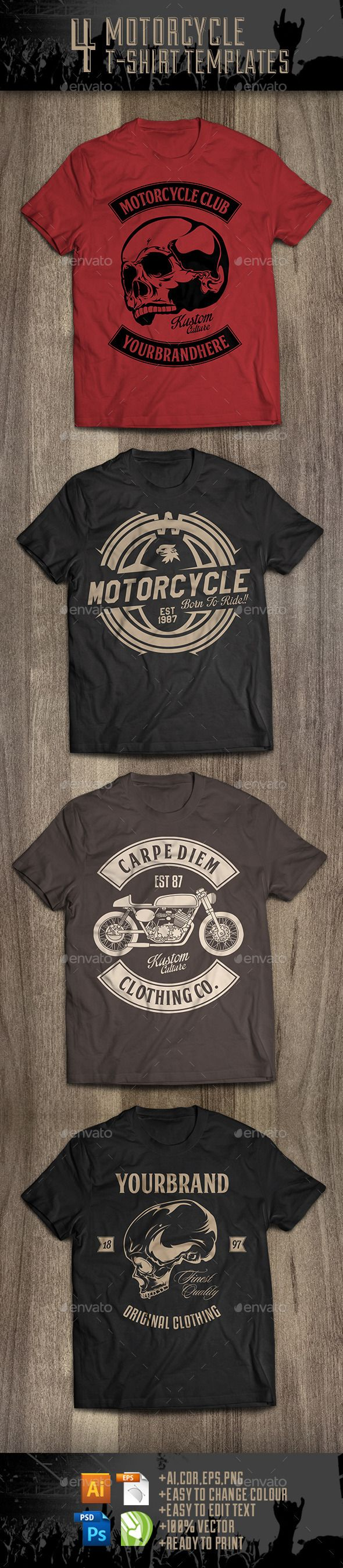 4 Motorcycle T-Shirt Template Vector EPS, AI. Download here: http://graphicriver.net/item/4-motorcycle-tshirt-templates/10019892?ref=ksioks