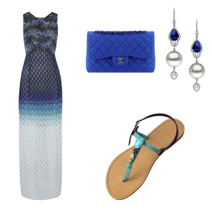 "Christina Fragista ""Thirasia Blue"" Sandal"