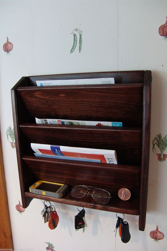 Mail Letter Rack Handcrafted Wood Organizer Key Holder