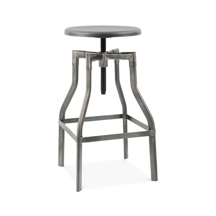 Machinist Clear Gunmetal and Wood Seat Adjustable Steel 26-inch to 32-inch Barstool (Clear Gunmetal), Grey