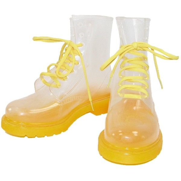 Cecilia Undercover Womens Neon Yellow Totally Jelly Clear Rain Boots ($45) ❤ liked on Polyvore featuring shoes, boots, wellington boots, jelly boots, clear rain boots, clear rubber boots and clear jelly shoes