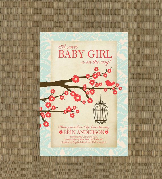 baby shower invitation coral and aqua shabby chic baby girl shower