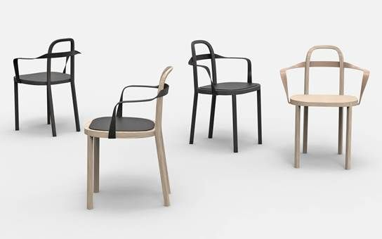 Woodnotes's Milano designweek 2016 novelty chair SIRO WITH ARMREST design Ilkka Suppanen and Raffaella Mangiarotti. Oak frame with leather upholstered armrest.