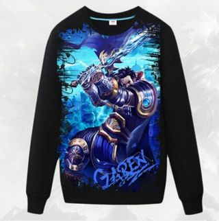 League of Legends Garen camisola para homens gola