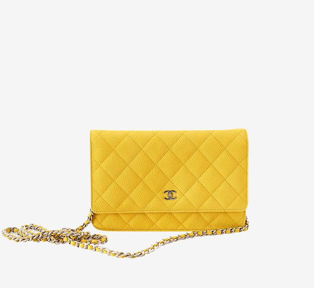 Chanel Chanel Wallet On A Chain Bag Yellow Caviar Leather Crossbody