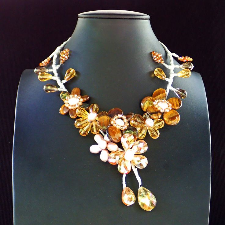 Necklace from tiger eye flowers, fresh water pearls and crystals. Statement, gemstone, handmade, collar, gold coloured,bib, brown coloured by Menir on Etsy