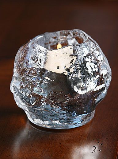 Kosta Boda Snowball Votive - I can picture this for winter or in a mountain retreat.