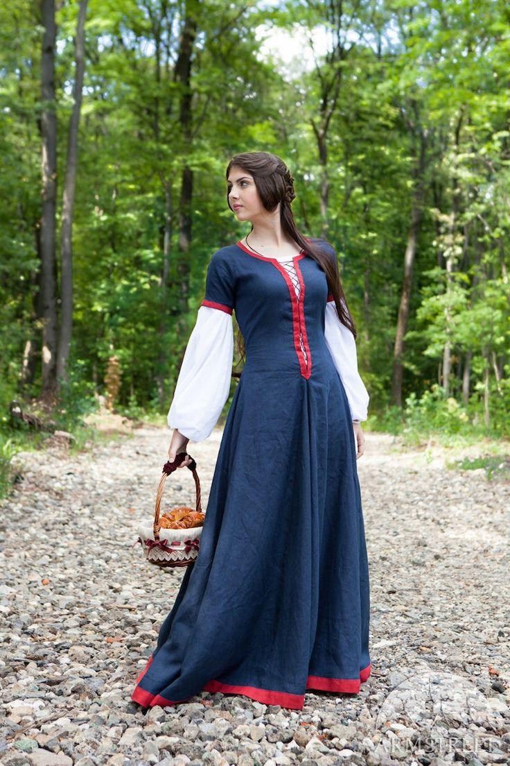 Middeleeuwse Womens vlas jurk Forget me not