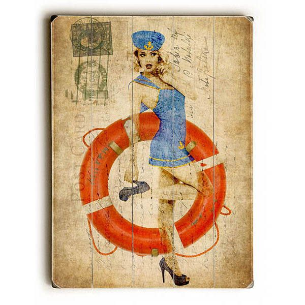 Pin-up Girl Sailing by Gi Artlab Wood Sign