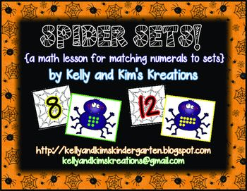 Spider Sets is a math lesson or center focusing on matching numerals to sets 0 through 20 for your pre-k, kindergarten, or first grade classroom! Matching numbers to sets is a concept that is very important to help children develop good number sense and automaticity with counting and numeral recognition. This one-time prep lesson includes a matching activity for exploration, spider and web task cards for small cooperative groups during your lesson, and four individual assessments.   $