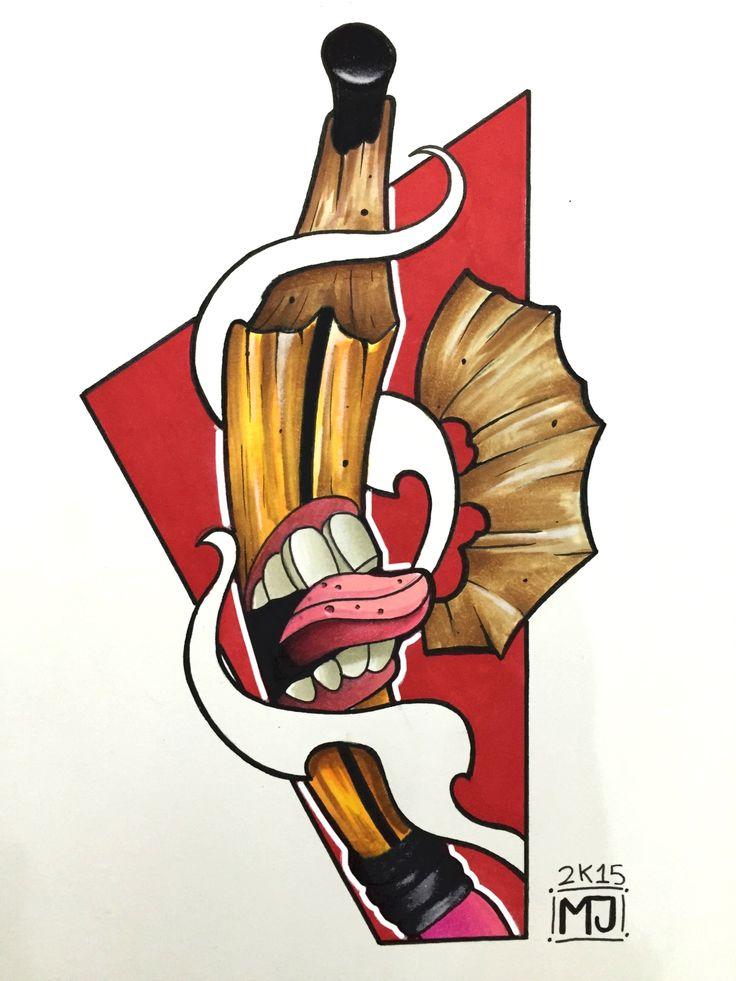 #pencil #rocknroll #tattoo #tattooartist #colortattoo #mrjack #mrjacktattoo #mrjacktattooartist #tatuaggio #bodyart #arte