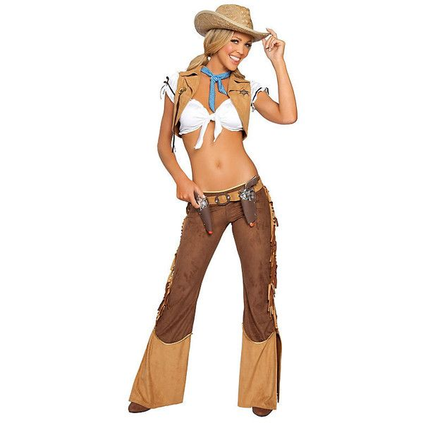 Sexy Wild West Womens Cowgirl Sheriff Costume ($75) ❤ liked on Polyvore featuring costumes, halloween costumes, multicolor, womens costumes, neck ties, sexy halloween costumes, adult cowboy costume and adult women halloween costumes