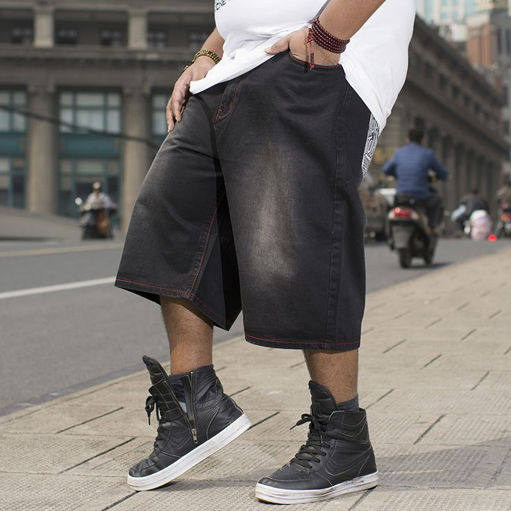 mens fashion Mens Straight Loose Hiphop Streetwear Baggy Jeans Shorts Men Summer Shorts Jeans Bermuda Black Short Pants Plus Size 40 42 44 46 ** AliExpress Affiliate's buyable pin. Click the image to view the details on www.aliexpress.com
