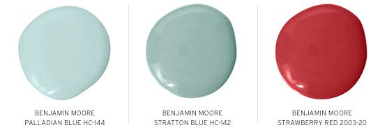 Benjamin Moore (of course!) Palladian Blue HC-144, Stratton Blue HC-142, and Strawberry Red 2003-20