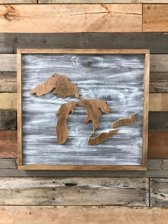 Great Lakes Wood Map Sign Etsy Wood Map Lake Map Art Lake Art