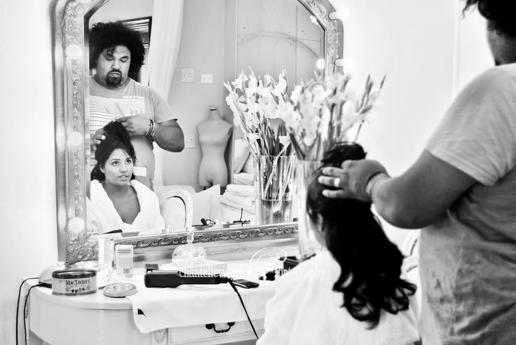 Beautiful reflection of a Bride getting Hair & Makeupdone  Bride in Black & White |  Weddings - Chantelle Visser Photography