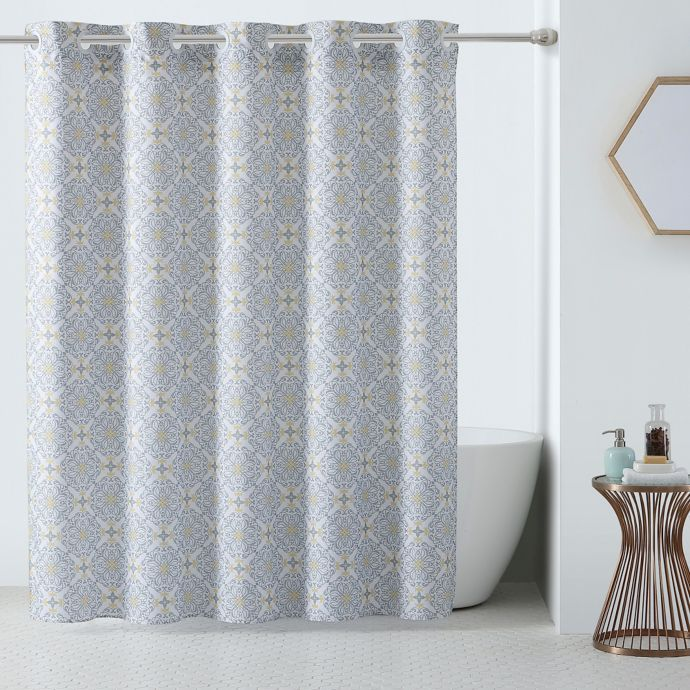 Hookless 3 In 1 Vervian Shower Curtain In Yellow Grey Bed Bath