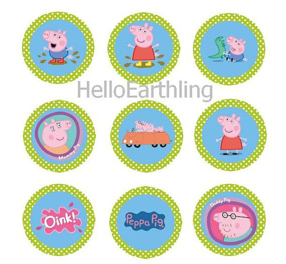 Peppa Pig Family Digital 2-inch  1-inch Circle Printable Cupcake Toppers Bottle Cap Stickers Clipart Collage Sheet