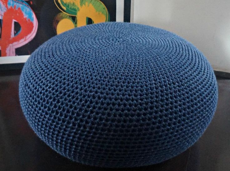 DIY Tutorial Large Crochet Pouf Poof Ottoman Footstool Home Decor ... .