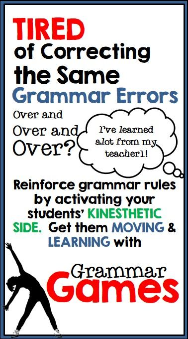 Research tells us students learn more when we get them up and moving. Why not try to eradicate those common grammar errors with a little bit of fun--try it out with Grammar Games!