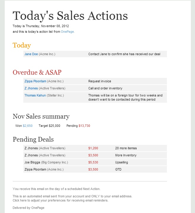 OnePage CRM - Sales Action