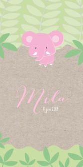 Trendy enkel geboortekaartje met kraftpapier achtergrond voor een meisje. Met mooie illustratie van een roze olifant in de jungle.