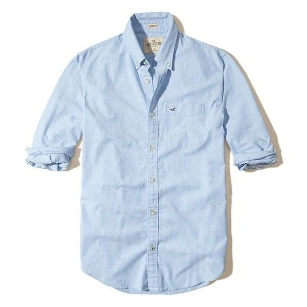 Hollister Stretch Oxford Shirt ❤ liked on Polyvore featuring tops, stretch top, blue oxford shirt, oxford shirts, stretchy tops and blue top