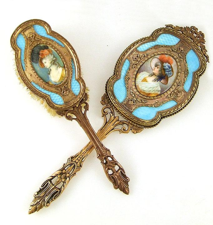 Antique French Miniature Portraits Guilloche Enamel Bronze Mirror & Brush Vanity Set