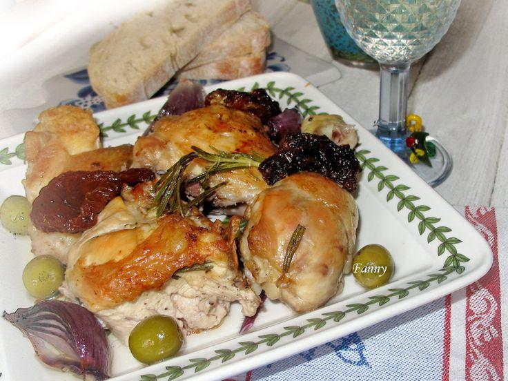 курица в белом вине с оливками и вялеными помидорами