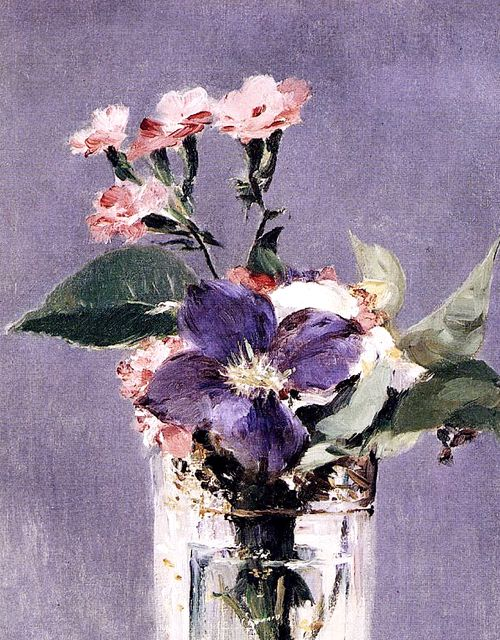 hnnhmcgrth:  Edouard Manet - Pinks and Clementis in a Crystal Vase, C. 1882