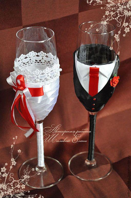 """Купить Свадебные фужеры """"Жених и Невеста"""" - свадьба, свадебные аксессуары, свадебные бокалы, свадебные фужеры"""