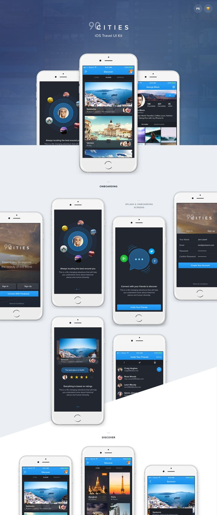 This stunning iOS UI Kit is the ultimate pack for iOS apps filled with travel content. Full app design will help you create your desired iOS App experience, and designed to give users the ability to choose from various types of content. 90Cities is alike real app containing the whole journey from Splash screen, Login, Onboarding, Discover, Bottom Bar Menu, Sidebar Menu, Settings, Overlay screen designs. Feel free to go through the whole experience in the link to Invision Prototype.