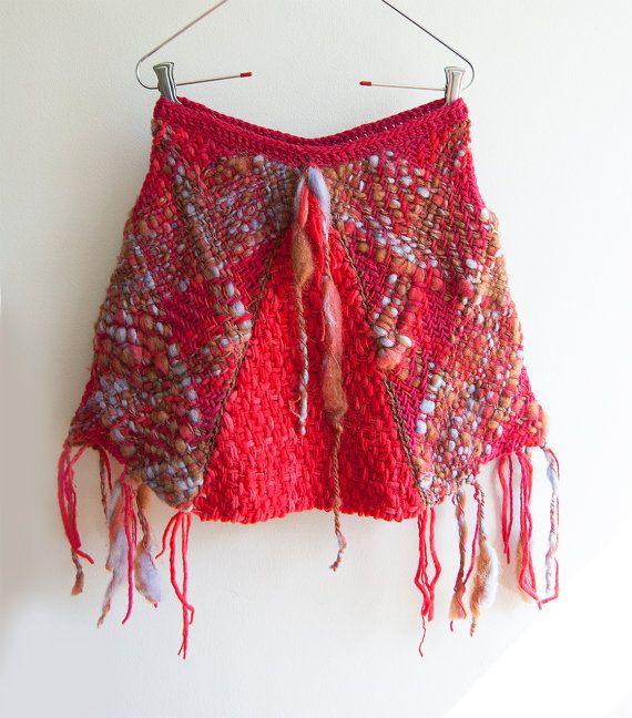 Rustic flecked pink and red skirt por Ullvuna en Etsy