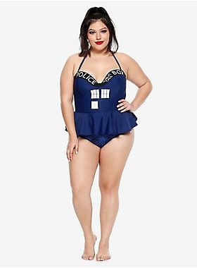 471f445aca0ec Things are gonna get timey-wimey for you at the beach this year when you  wear these swim bottoms from Doctor Who . The retro-inspired high-waisted  blue swim ...