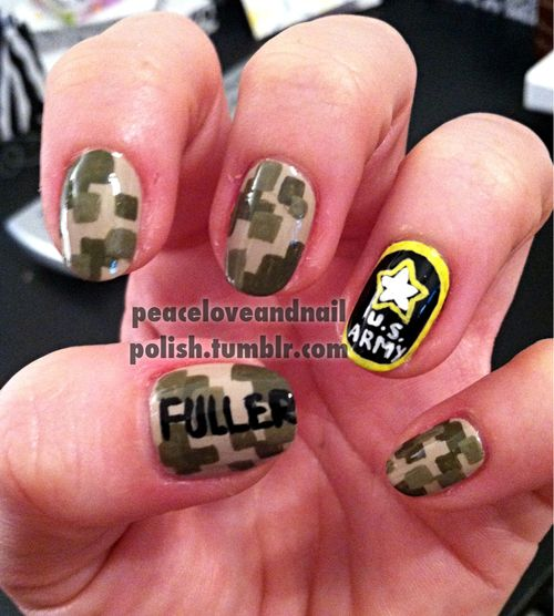 US Army Nails... someone needs to do these for me for Scott's graduation - 145 Best Nails Images On Pinterest Military Nails, Military Life