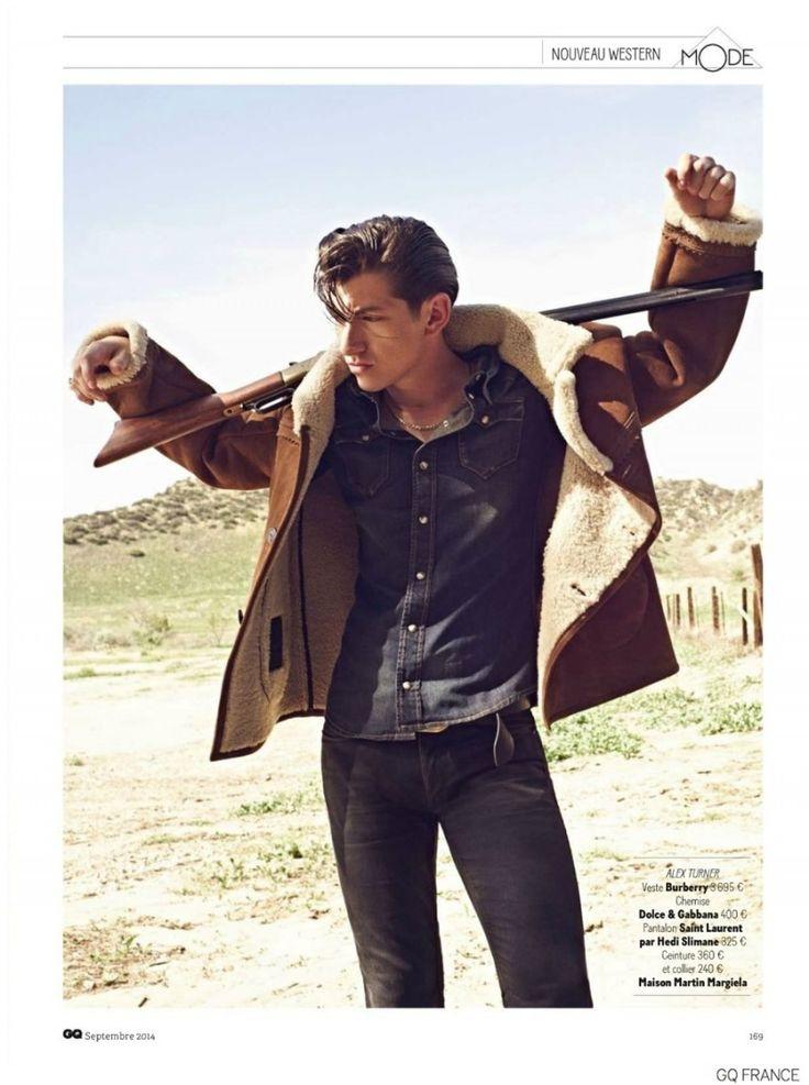 Arctic Monkeys Alex Turner Stars in Western Themed Shoot for GQ France September 2014 Issue image Alex Turner Arctic Monkeys GQ France Septe...
