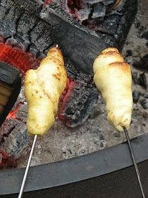 Crescent rolls over the campfire! Have done this and it's deeeelicious! Jam, cinnamon/sugar, powdered sugar....