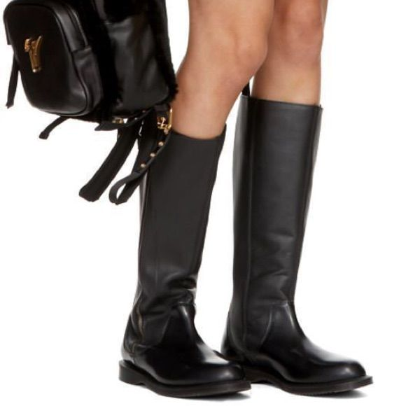 Dr Martens Chianna Black Polished Smooth Leather Knee High Riding Boots UK 4