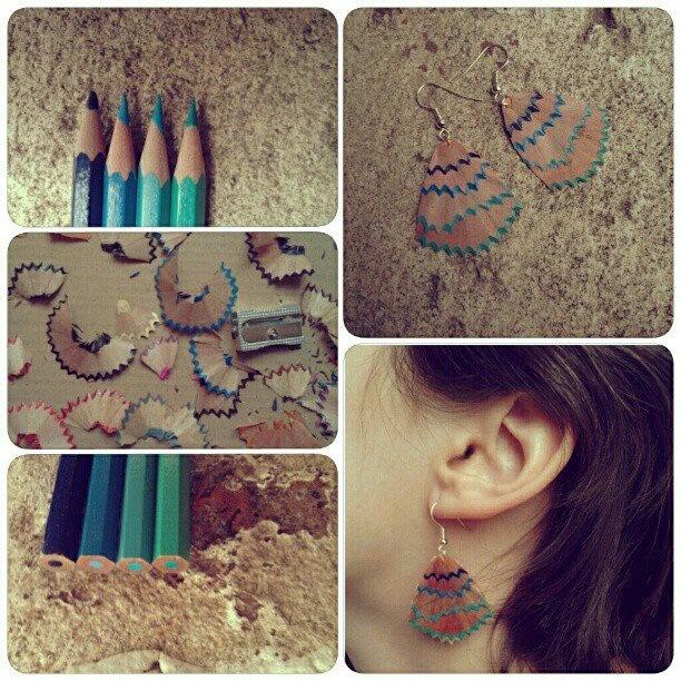 blue-green pencil earring