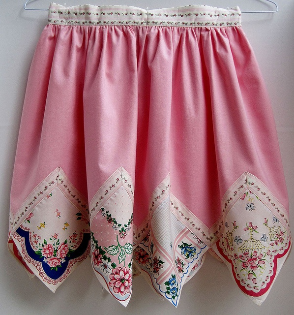 great use of hankies   Or howabout on a tee hem or shorts (wouldn't want heirloom hankies to drag the ground on jeans)dse