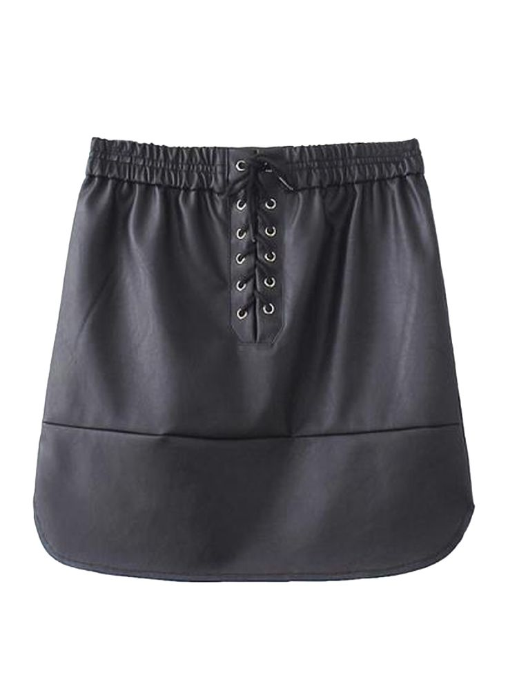 Negro PU Falda tubo con lazo