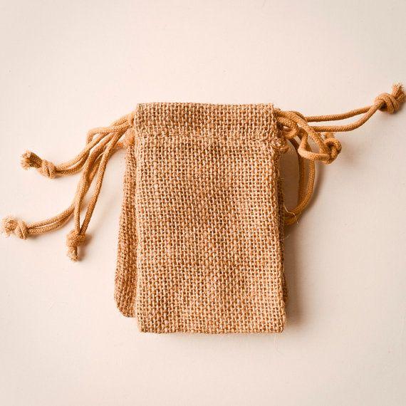 75 Burlap Bags 3x5, Jute, Natural Drawstring Sack, Rustic Gift Bag Wedding Favor. $50.00, via Etsy.