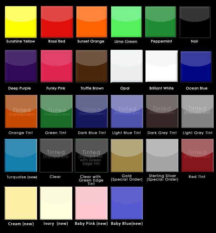 Acrylic Splashbacks Colours Available